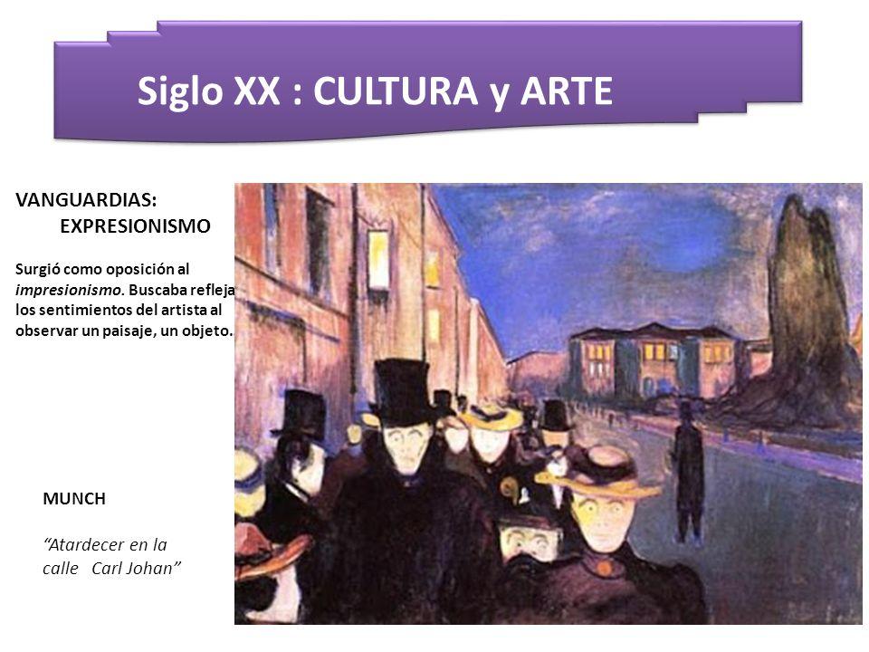 Siglo XX : CULTURA y ARTE MUNCH Atardecer en la calle Carl Johan VANGUARDIAS: EXPRESIONISMO Surgió como oposición al impresionismo. Buscaba reflejar l