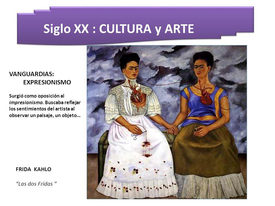 Siglo XX : CULTURA y ARTE FRIDA KAHLO Las dos Fridas VANGUARDIAS: EXPRESIONISMO Surgió como oposición al impresionismo. Buscaba reflejar los sentimien