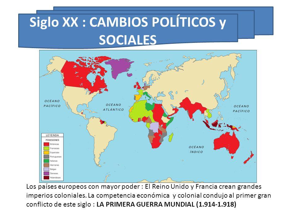 Los países europeos con mayor poder : El Reino Unido y Francia crean grandes imperios coloniales. La competencia económica y colonial condujo al prime