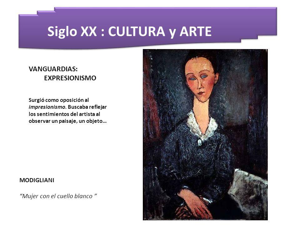 Siglo XX : CULTURA y ARTE MODIGLIANI Mujer con el cuello blanco VANGUARDIAS: EXPRESIONISMO Surgió como oposición al impresionismo. Buscaba reflejar lo