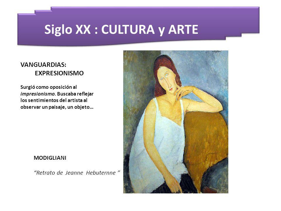 Siglo XX : CULTURA y ARTE MODIGLIANI Retrato de Jeanne Hebuternne VANGUARDIAS: EXPRESIONISMO Surgió como oposición al impresionismo. Buscaba reflejar