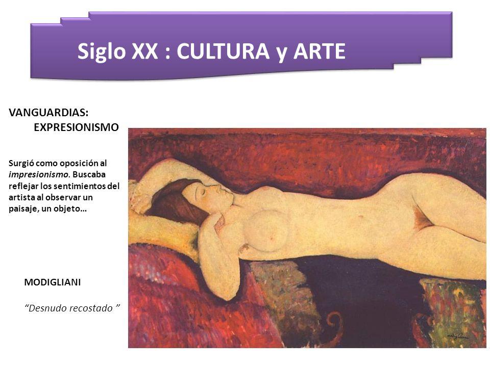 Siglo XX : CULTURA y ARTE MODIGLIANI Desnudo recostado VANGUARDIAS: EXPRESIONISMO Surgió como oposición al impresionismo. Buscaba reflejar los sentimi