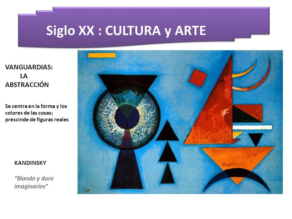 Siglo XX : CULTURA y ARTE KANDINSKY Blando y duro imaginarios VANGUARDIAS: LA ABSTRACCIÓN Se centra en la forma y los colores de las cosas; prescinde