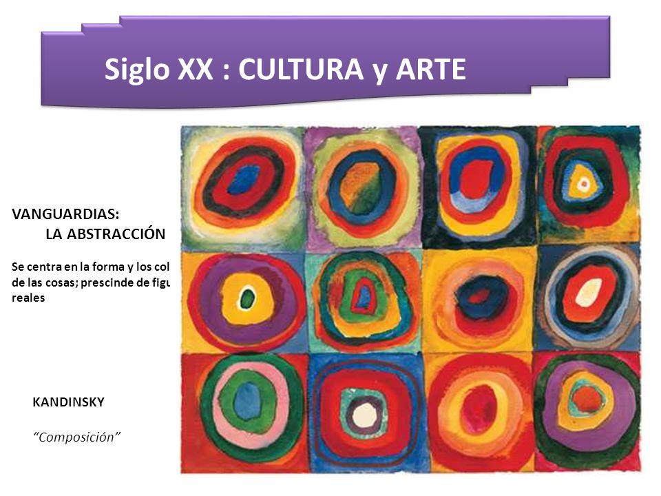 Siglo XX : CULTURA y ARTE KANDINSKY Composición VANGUARDIAS: LA ABSTRACCIÓN Se centra en la forma y los colores de las cosas; prescinde de figuras rea