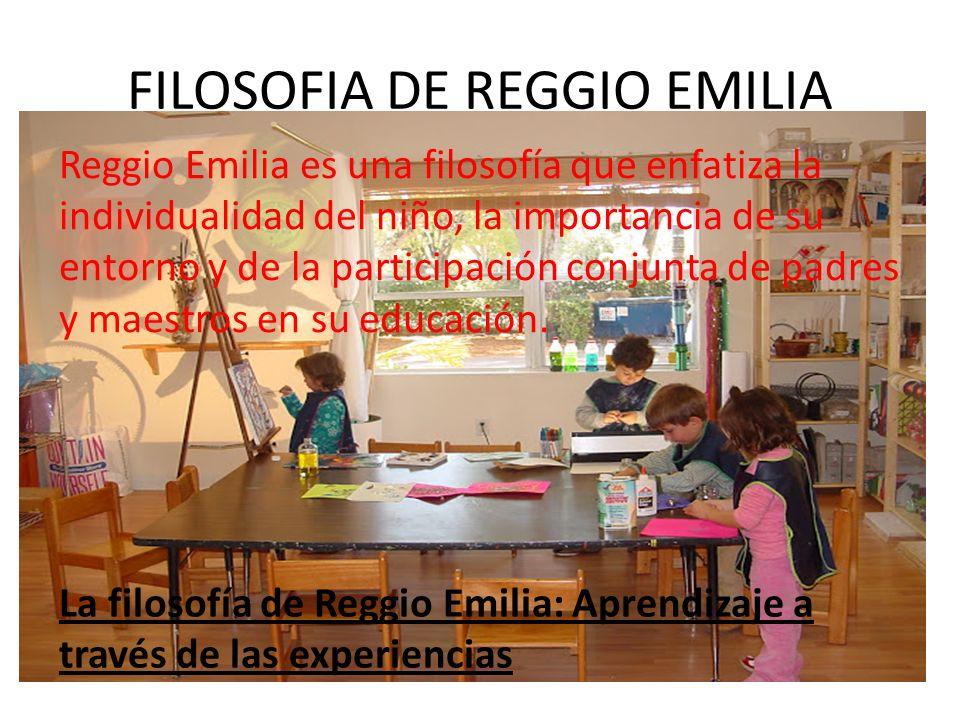 FILOSOFIA DE REGGIO EMILIA Reggio Emilia es una filosofía que enfatiza la individualidad del niño, la importancia de su entorno y de la participación