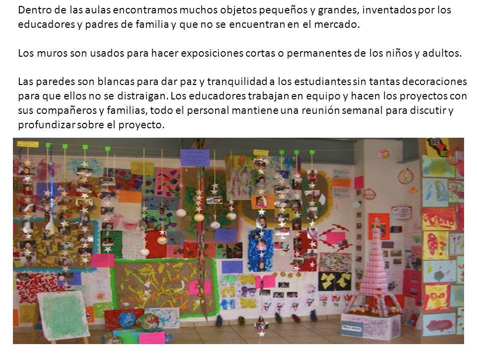 Dentro de las aulas encontramos muchos objetos pequeños y grandes, inventados por los educadores y padres de familia y que no se encuentran en el merc