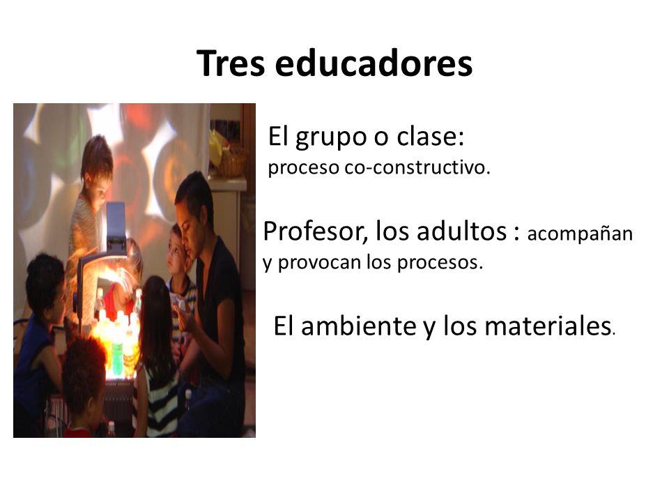 Tres educadores El grupo o clase: proceso co-constructivo. Profesor, los adultos : acompañan y provocan los procesos. El ambiente y los materiales.