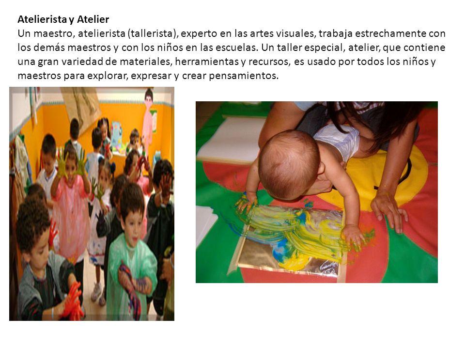 Atelierista y Atelier Un maestro, atelierista (tallerista), experto en las artes visuales, trabaja estrechamente con los demás maestros y con los niño