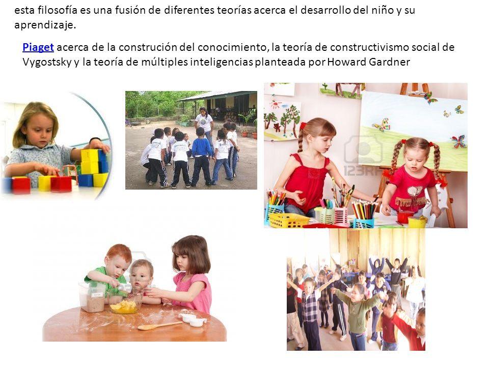 esta filosofía es una fusión de diferentes teorías acerca el desarrollo del niño y su aprendizaje. PiagetPiaget acerca de la construción del conocimie