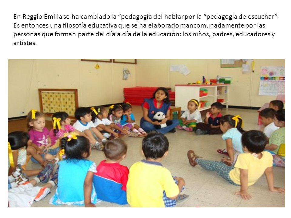 En Reggio Emilia se ha cambiado la pedagogía del hablar por la pedagogía de escuchar. Es entonces una filosofía educativa que se ha elaborado mancomun