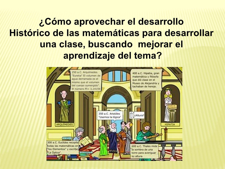 Al proponer esta forma de manejo de la historia de las matemáticas en el salón de clase, se puede considerar lo que Fauvel (1991) propone :.