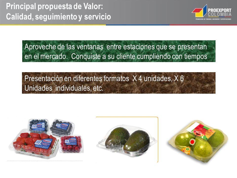 Principal propuesta de Valor: Calidad, seguimiento y servicio Aproveche de las ventanas entre estaciones que se presentan en el mercado. Conquiste a s