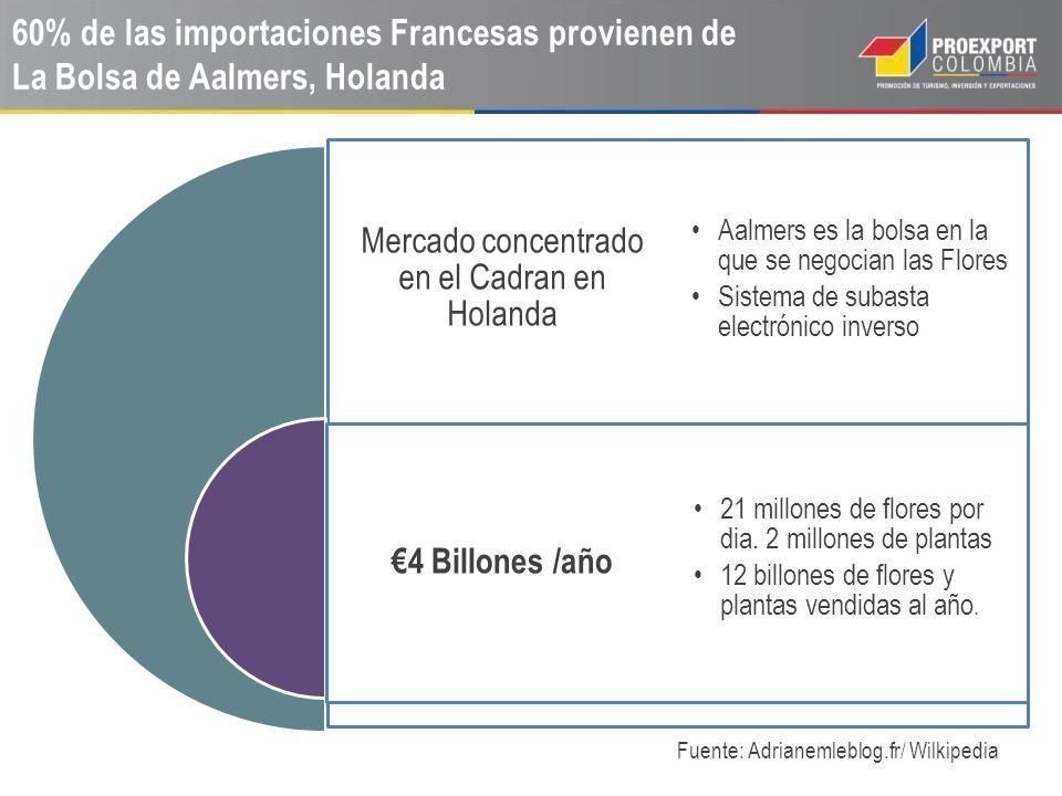 60% de las importaciones Francesas provienen de La Bolsa de Aalmers, Holanda Fuente: Adrianemleblog.fr/ Wilkipedia Mercado concentrado en el Cadran en