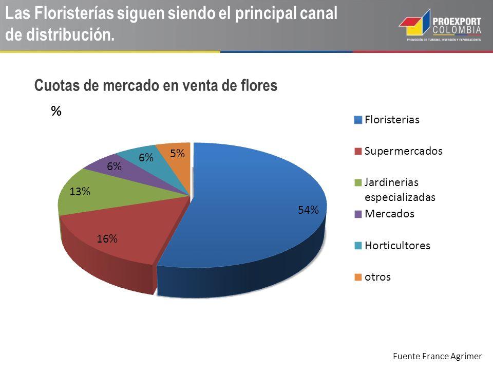 Las Floristerías siguen siendo el principal canal de distribución. Cuotas de mercado en venta de flores Fuente France Agrimer
