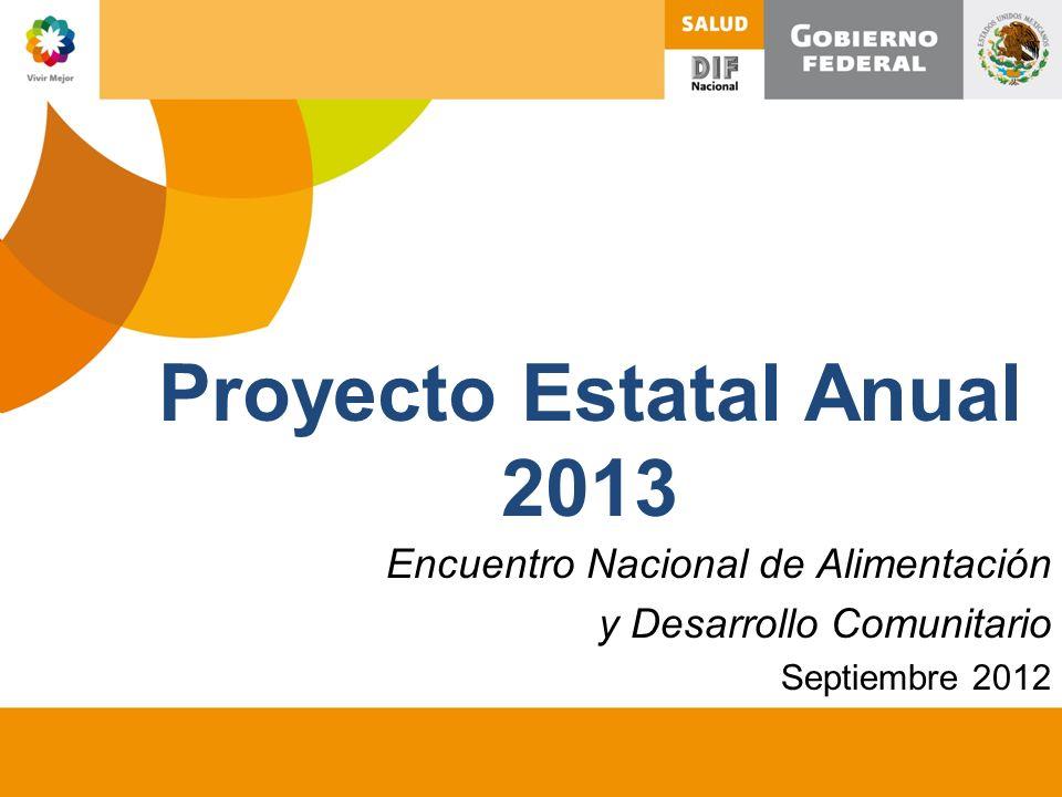 Proyecto Estatal Anual 2013 Encuentro Nacional de Alimentación y Desarrollo Comunitario Septiembre 2012