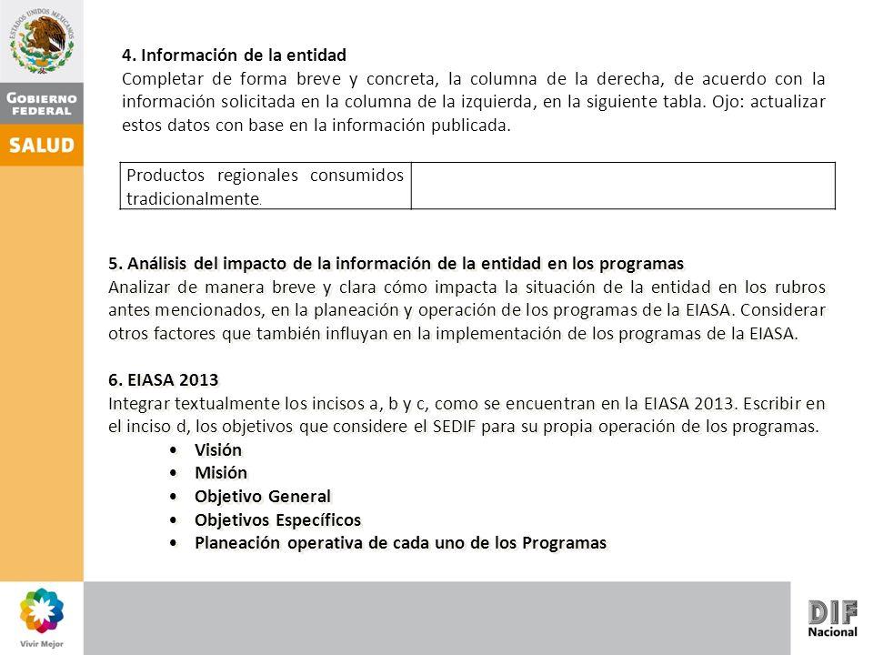 4. Información de la entidad Completar de forma breve y concreta, la columna de la derecha, de acuerdo con la información solicitada en la columna de
