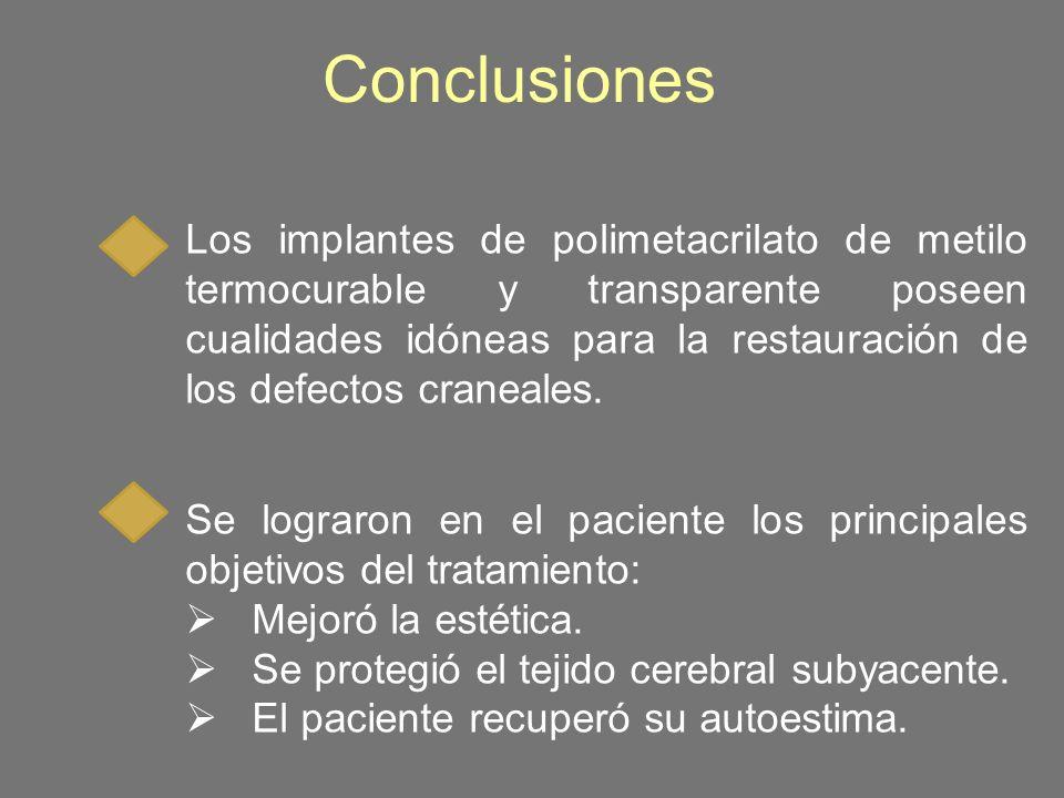 Conclusiones Los implantes de polimetacrilato de metilo termocurable y transparente poseen cualidades idóneas para la restauración de los defectos cra
