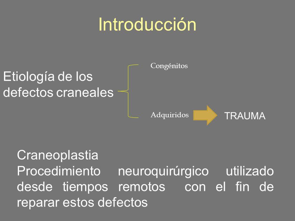 Introducción Etiología de los defectos craneales Congénitos Adquiridos TRAUMA Craneoplastia Procedimiento neuroquirúrgico utilizado desde tiempos remo