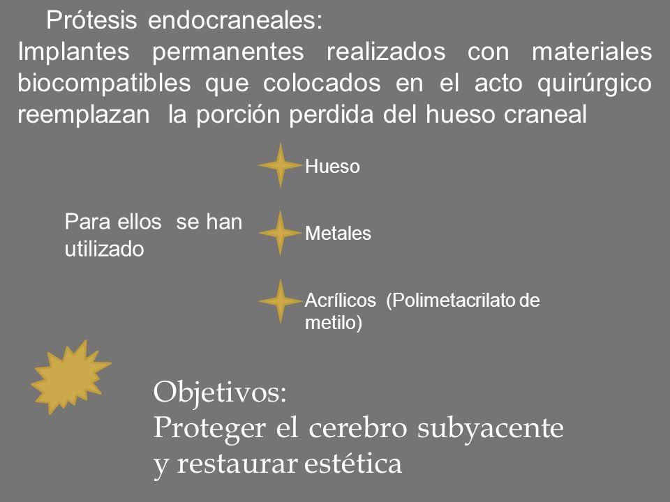 Prótesis endocraneales: Implantes permanentes realizados con materiales biocompatibles que colocados en el acto quirúrgico reemplazan la porción perdi