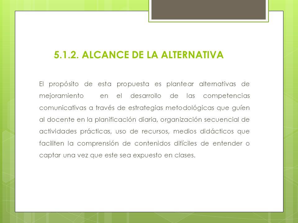 5.1.2. ALCANCE DE LA ALTERNATIVA El propósito de esta propuesta es plantear alternativas de mejoramiento en el desarrollo de las competencias comunica