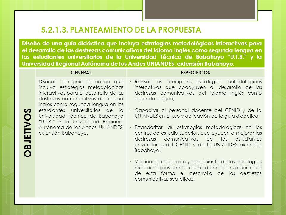 5.2.1.3. PLANTEAMIENTO DE LA PROPUESTA Diseño de una guía didáctica que incluya estrategias metodológicas interactivas para el desarrollo de las destr