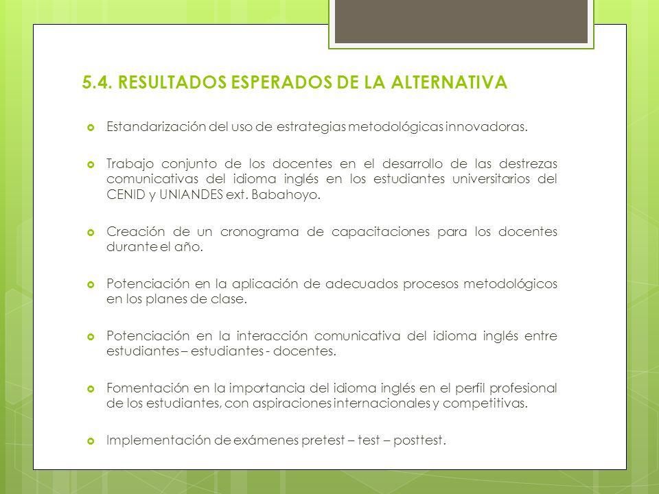 5.4. RESULTADOS ESPERADOS DE LA ALTERNATIVA Estandarización del uso de estrategias metodológicas innovadoras. Trabajo conjunto de los docentes en el d