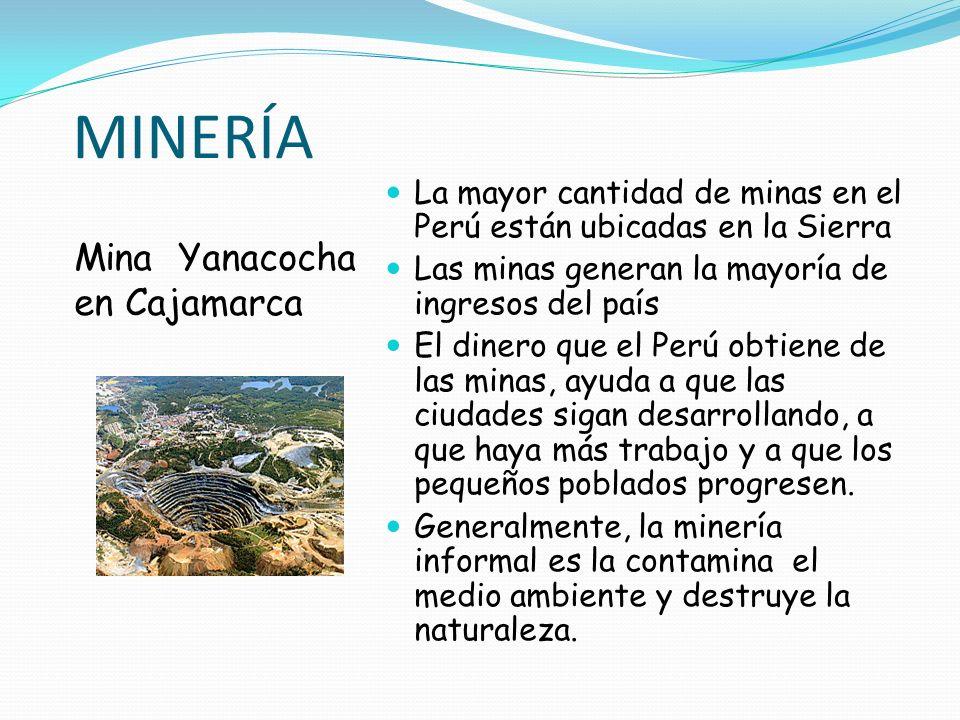 MINERÍA Mina Yanacocha en Cajamarca La mayor cantidad de minas en el Perú están ubicadas en la Sierra Las minas generan la mayoría de ingresos del paí