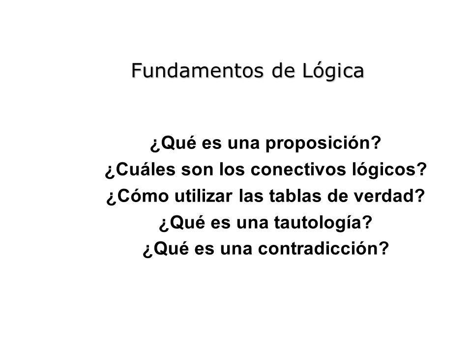 Fundamentos de Lógica ¿Qué es una proposición? ¿Cuáles son los conectivos lógicos? ¿Cómo utilizar las tablas de verdad? ¿Qué es una tautología? ¿Qué e