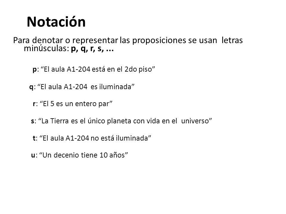 Notación Para denotar o representar las proposiciones se usan letras min ú sculas: p, q, r, s,... p: El aula A1-204 está en el 2do piso q: El aula A1-