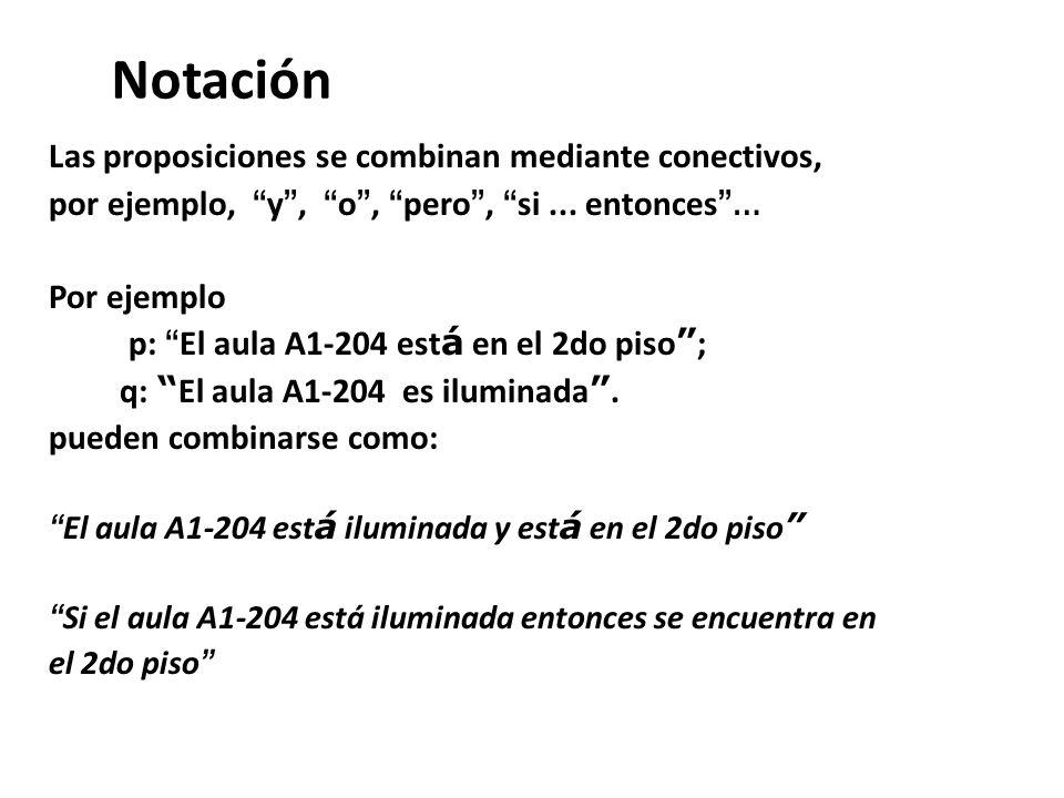 Notación Las proposiciones se combinan mediante conectivos, por ejemplo, y, o, pero, si... entonces … Por ejemplo p: El aula A1-204 est á en el 2do pi