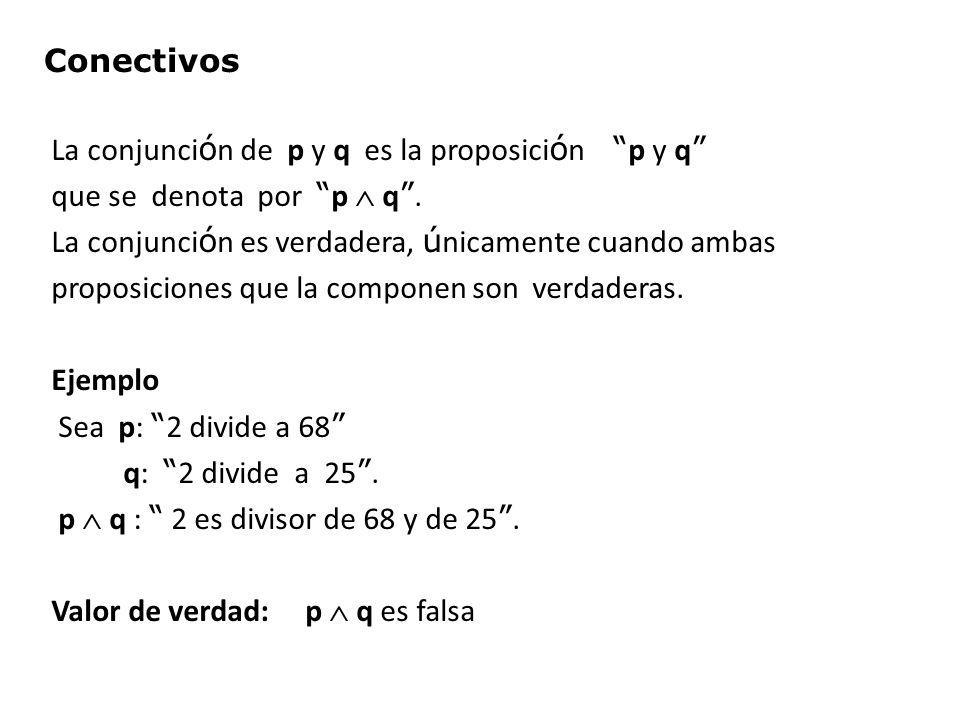 La conjunci ó n de p y q es la proposici ó n p y q que se denota por p q. La conjunci ó n es verdadera, ú nicamente cuando ambas proposiciones que la