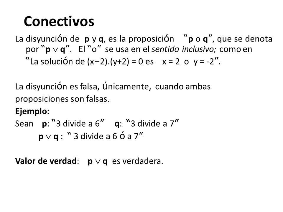 Conectivos La disyunci ó n de p y q, es la proposici ó n p o q, que se denota por p q. El o se usa en el sentido inclusivo; como en La soluci ó n de (
