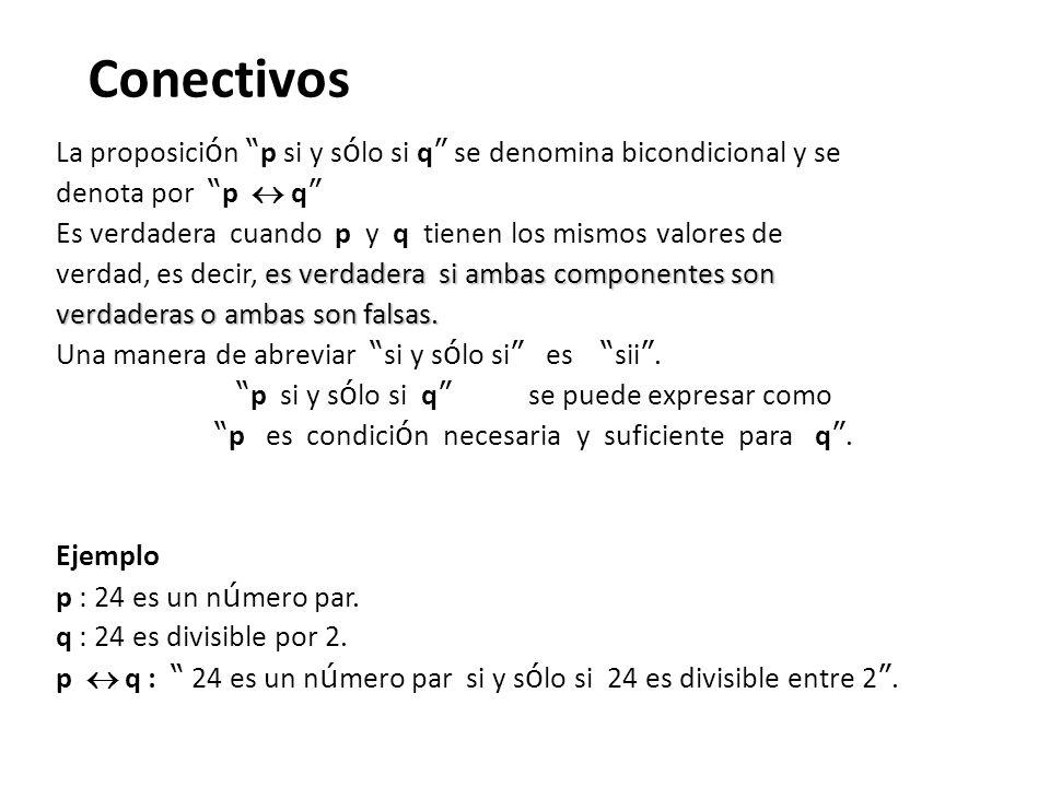 Conectivos La proposici ó n p si y s ó lo si q se denomina bicondicional y se denota por p q Es verdadera cuando p y q tienen los mismos valores de es