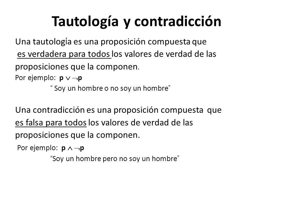 Tautología y contradicción Una tautolog í a es una proposición compuesta que es verdadera para todos los valores de verdad de las proposiciones que la