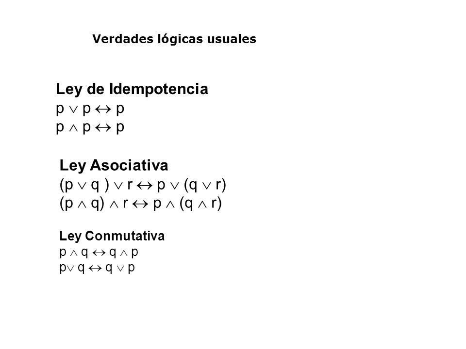 Verdades lógicas usuales Ley de Idempotencia p p p Ley Asociativa (p q ) r p (q r) Ley Conmutativa p q q p