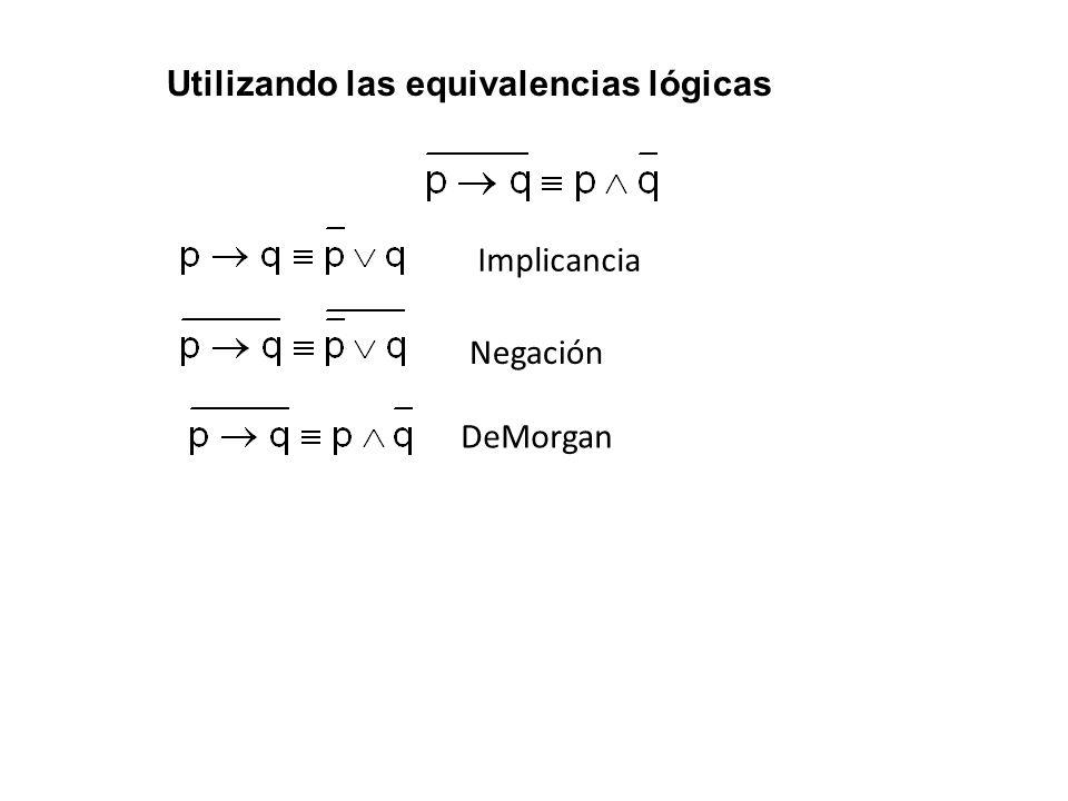 Utilizando las equivalencias lógicas Implicancia Negación DeMorgan
