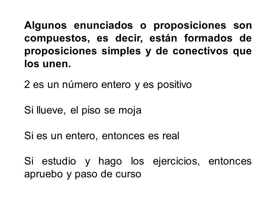Algunos enunciados o proposiciones son compuestos, es decir, están formados de proposiciones simples y de conectivos que los unen. 2 es un número ente