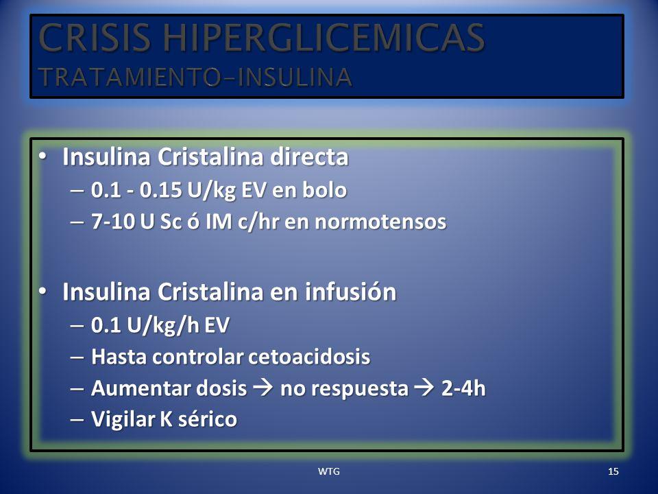 Insulina Cristalina directa Insulina Cristalina directa – 0.1 - 0.15 U/kg EV en bolo – 7-10 U Sc ó IM c/hr en normotensos Insulina Cristalina en infus