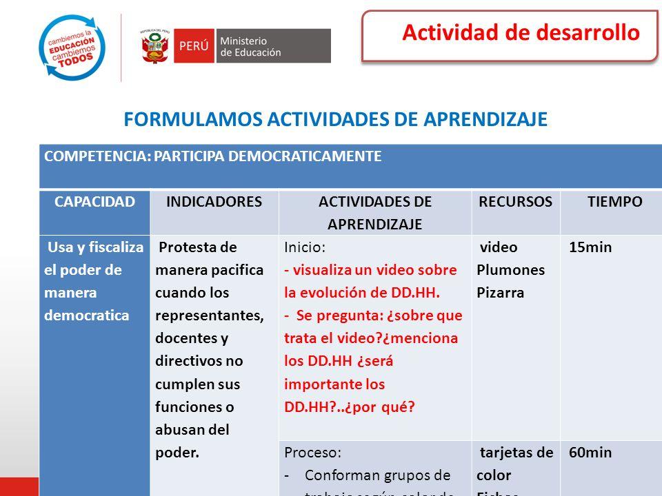 Actividad de desarrollo FORMULAMOS ACTIVIDADES DE APRENDIZAJE COMPETENCIA: PARTICIPA DEMOCRATICAMENTE CAPACIDADINDICADORES ACTIVIDADES DE APRENDIZAJE