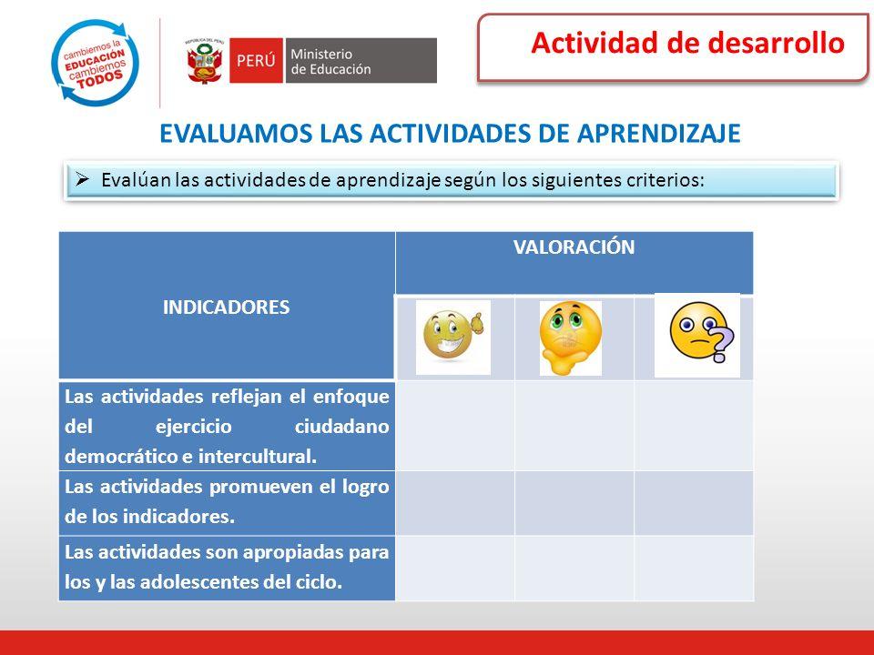 Actividad de desarrollo EVALUAMOS LAS ACTIVIDADES DE APRENDIZAJE Evalúan las actividades de aprendizaje según los siguientes criterios: INDICADORES VA