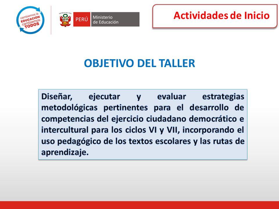 Actividades de Inicio OBJETIVO DEL TALLER