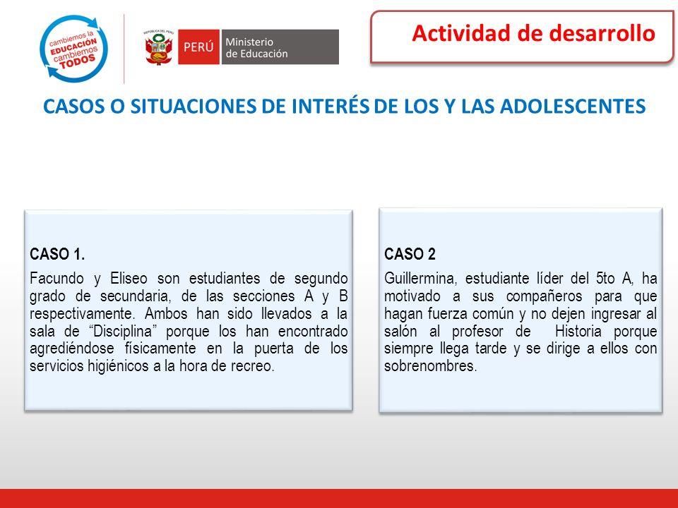Actividad de desarrollo CASOS O SITUACIONES DE INTERÉS DE LOS Y LAS ADOLESCENTES CASO 1. Facundo y Eliseo son estudiantes de segundo grado de secundar