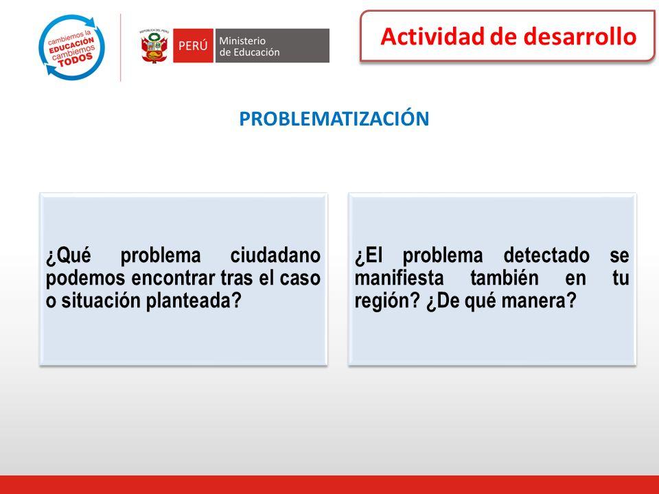 Actividad de desarrollo PROBLEMATIZACIÓN ¿Qué problema ciudadano podemos encontrar tras el caso o situación planteada? ¿El problema detectado se manif