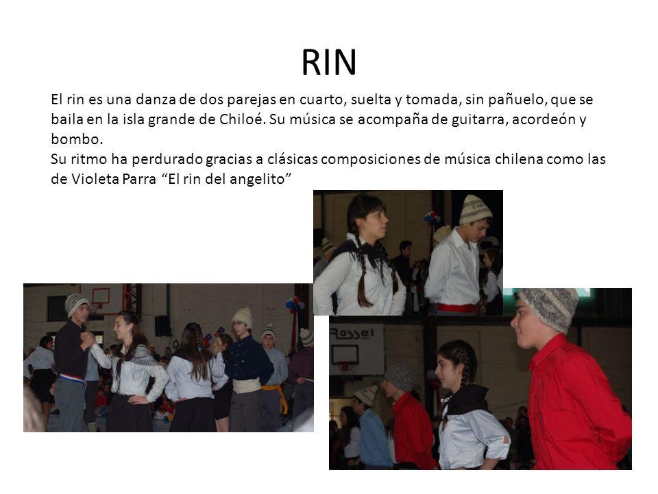 RIN El rin es una danza de dos parejas en cuarto, suelta y tomada, sin pañuelo, que se baila en la isla grande de Chiloé. Su música se acompaña de gui