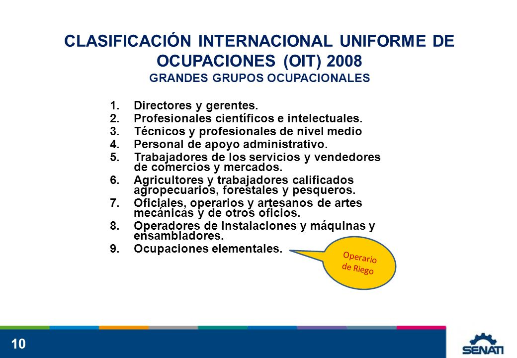 10 CLASIFICACIÓN INTERNACIONAL UNIFORME DE OCUPACIONES (OIT) 2008 GRANDES GRUPOS OCUPACIONALES 1.Directores y gerentes. 2.Profesionales científicos e