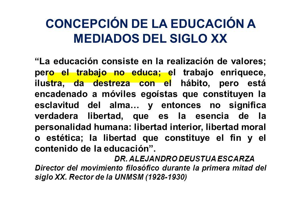 CONCEPCIÓN DE LA EDUCACIÓN A MEDIADOS DEL SIGLO XX La educación consiste en la realización de valores; pero el trabajo no educa; el trabajo enriquece,