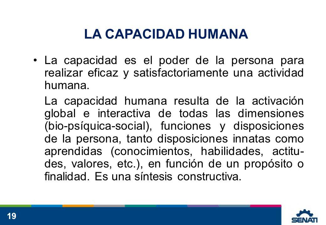 19 LA CAPACIDAD HUMANA La capacidad es el poder de la persona para realizar eficaz y satisfactoriamente una actividad humana. La capacidad humana resu