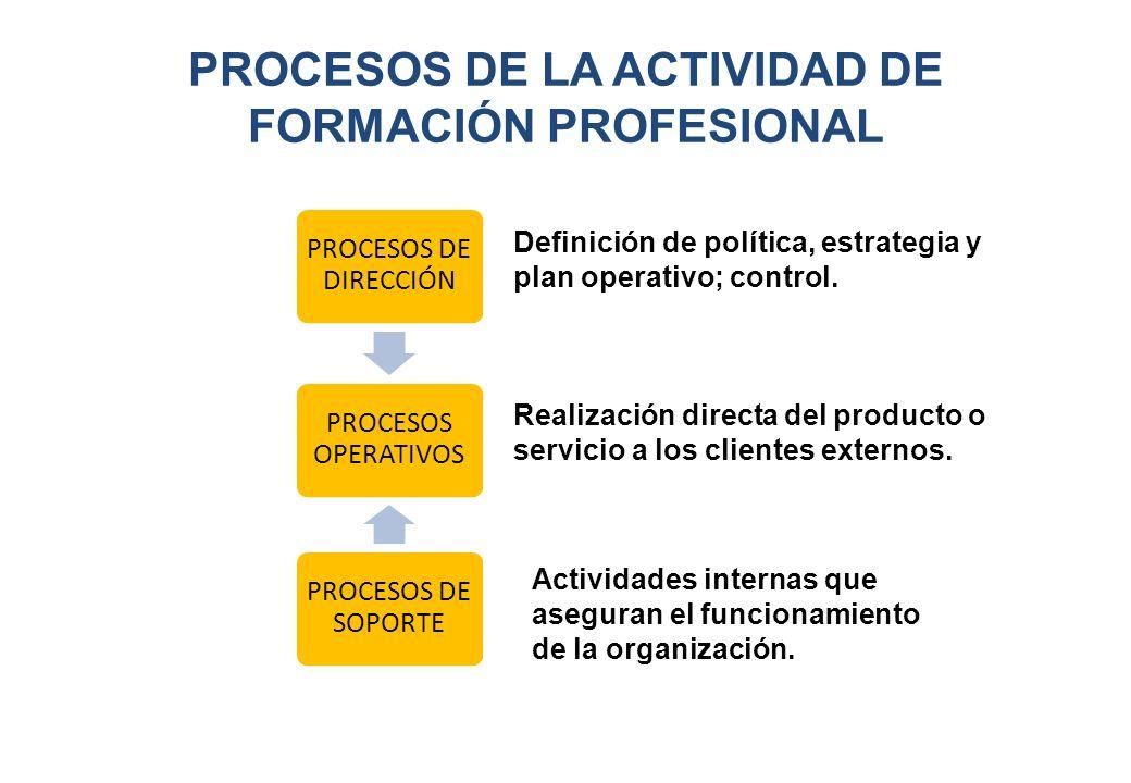 PROCESOS DE LA ACTIVIDAD DE FORMACIÓN PROFESIONAL Definición de política, estrategia y plan operativo; control. Realización directa del producto o ser