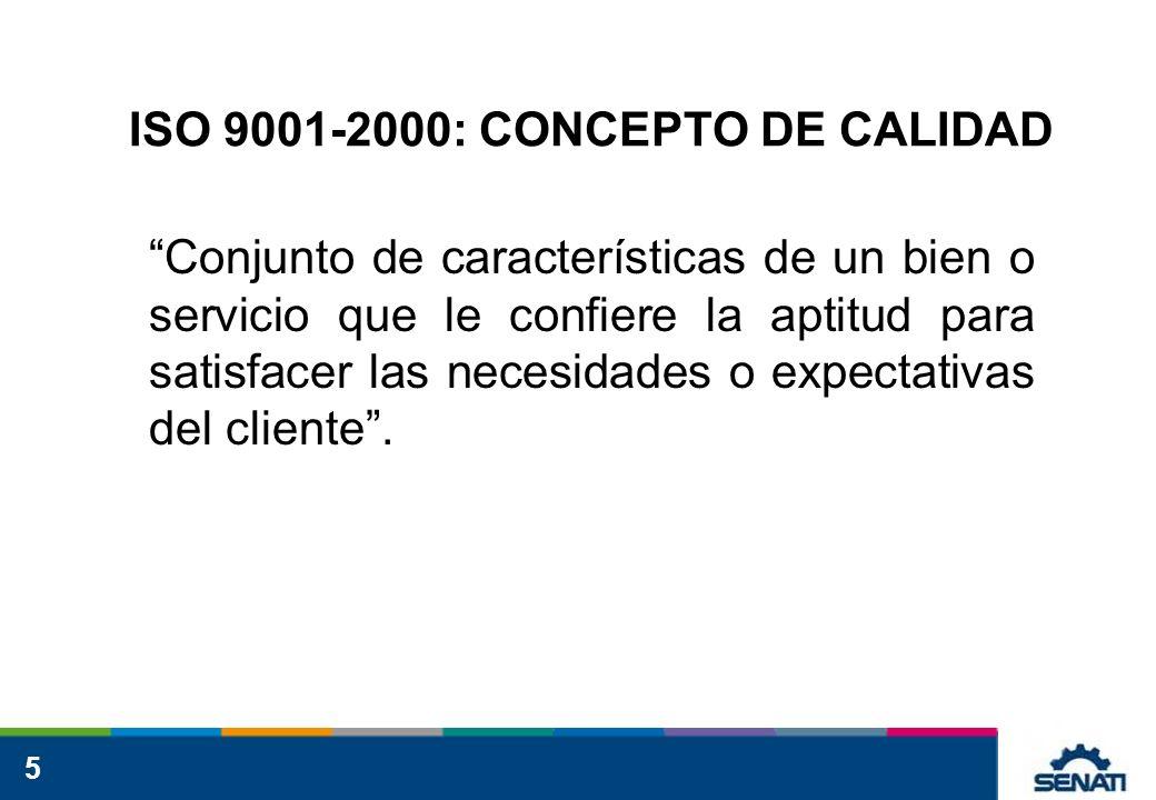 5 ISO 9001-2000: CONCEPTO DE CALIDAD Conjunto de características de un bien o servicio que le confiere la aptitud para satisfacer las necesidades o ex