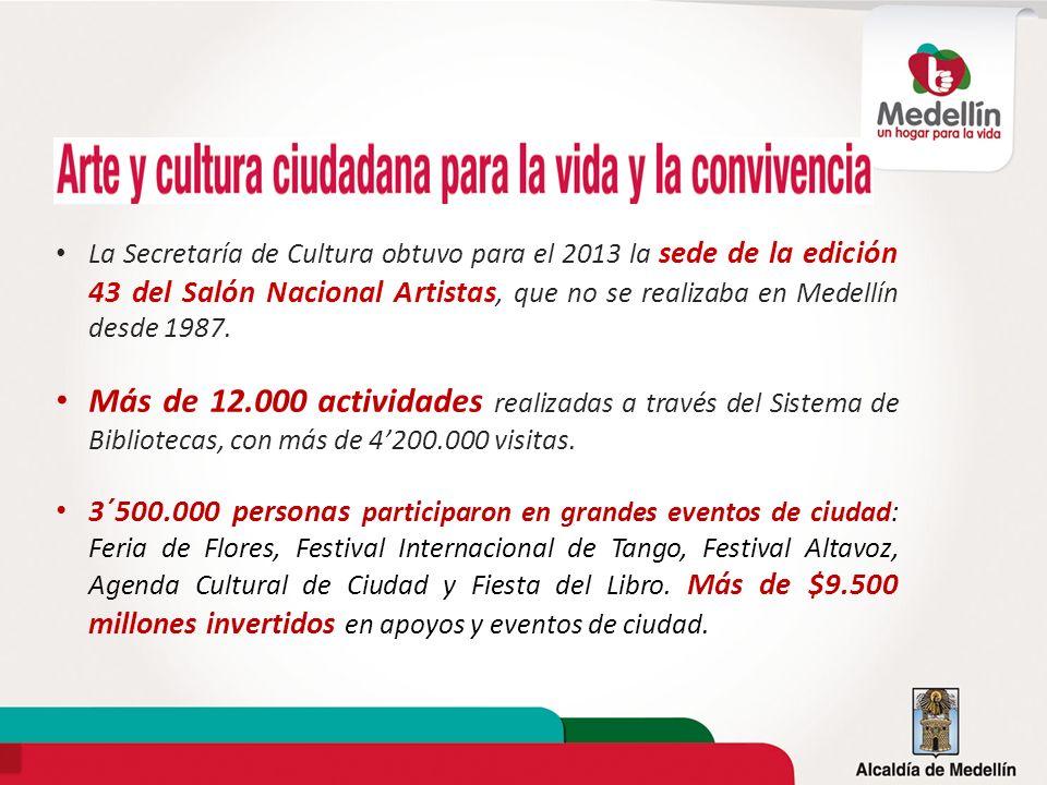 La Secretaría de Cultura obtuvo para el 2013 la sede de la edición 43 del Salón Nacional Artistas, que no se realizaba en Medellín desde 1987.